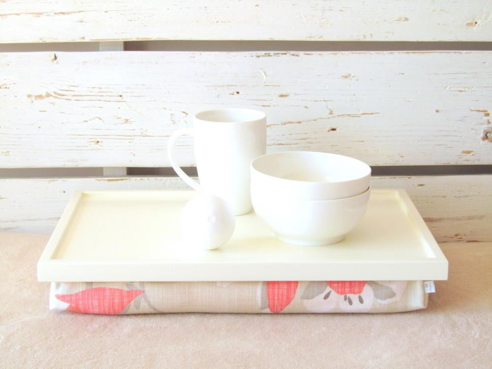 Laptop Lap Desk or Breakfast Serving PIllow Tray- Table- XL size - Off White with Grey and Coral- Custom Order
