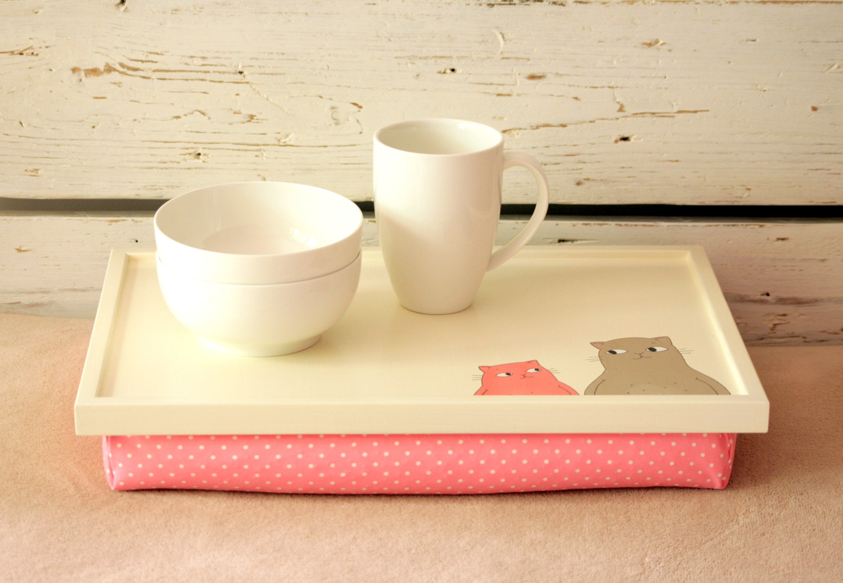 Laptop Lap Desk Or Breakfast Serving Tray   Hand Painted Two Cats And  Mouses With Pink Polka Dot Pillow  Custom Order